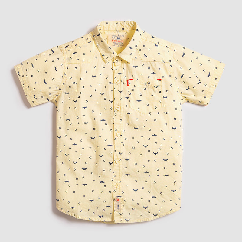 Yellow All-Over Printed Casual Shirt