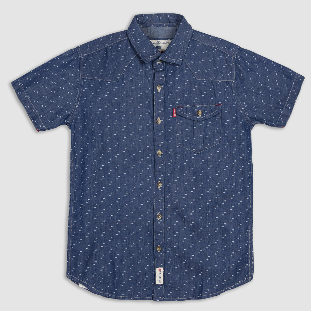 Micro Printed Denim Shirt