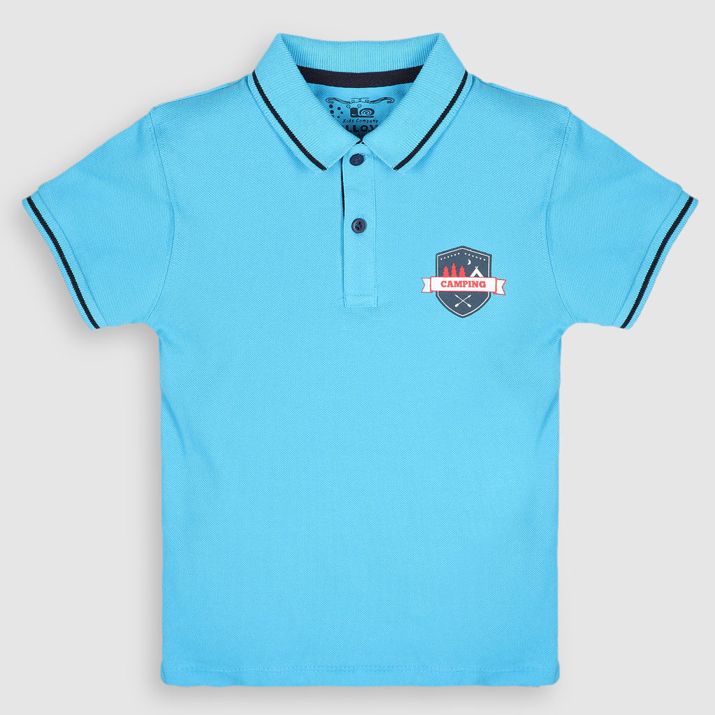 Water Blue Tipped Collar Polo