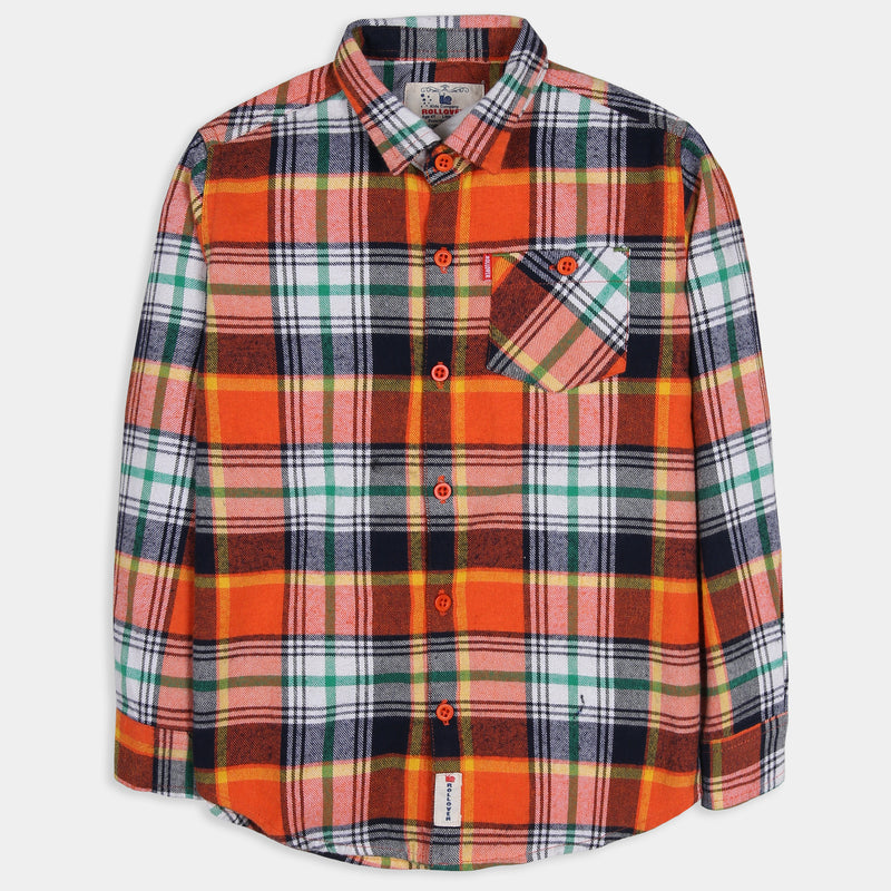Orange Wide Checked Shirt