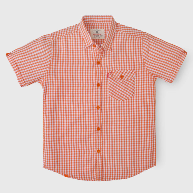 Orange Small Checkered Shirt