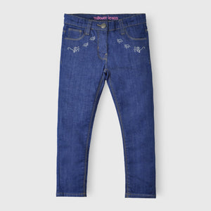Dark Blue Embroidered Jeans