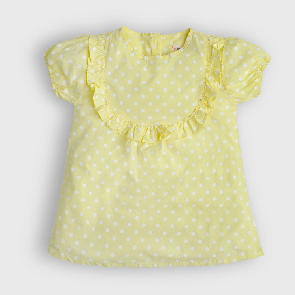 Yellow Ruffle Yoke Top