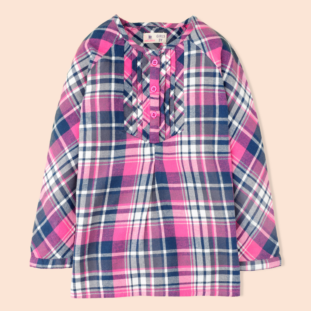 Pleated Flannel Top