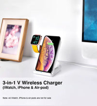 Load image into Gallery viewer, 3-in-1 V Wireless Charger (iWatch, iPhone & Air-pod)
