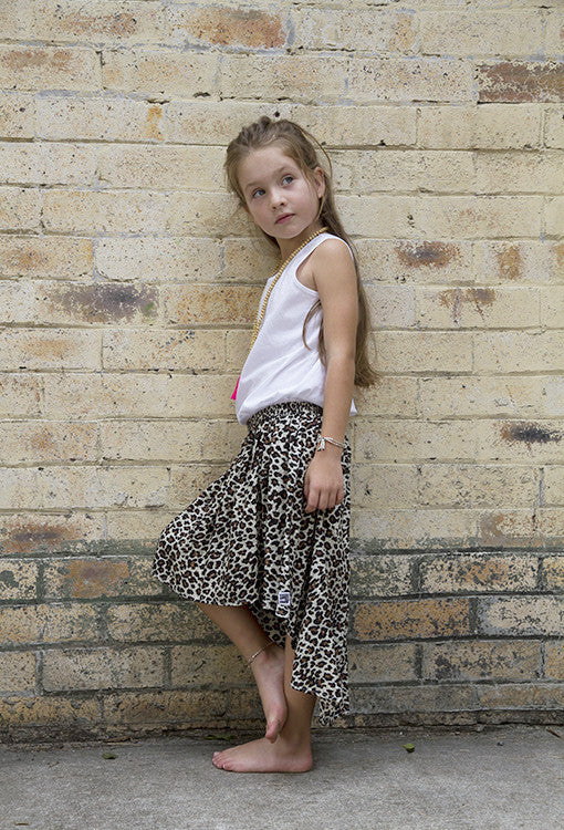 Billy Ray Animal Print Hi Lo Girls Kids Skirt Leopard