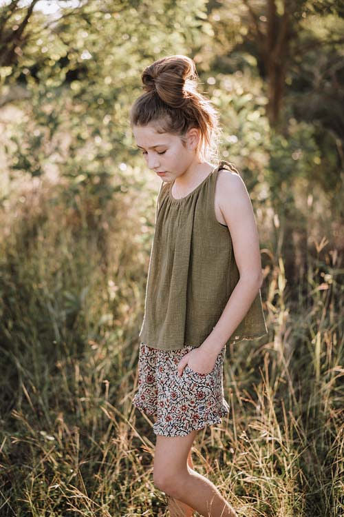 Butterfly Tank - Textured Olive