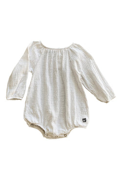 Scout Romper Long Sleeve - Textured Natural