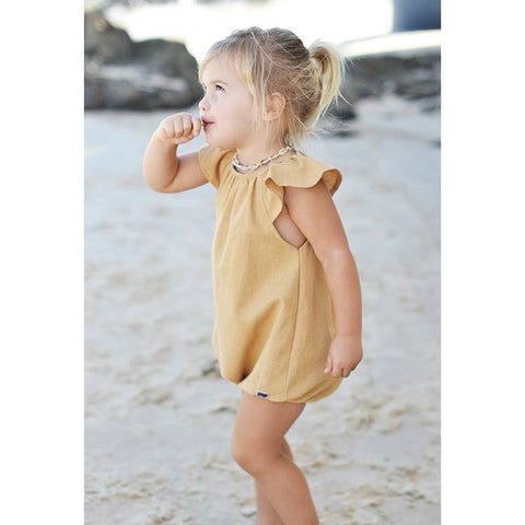 Scout Romper - Linen Old Gold