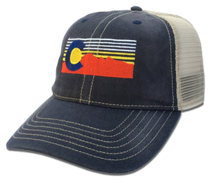 Colorado Flag Riff on Faded Cotton Baseball Cap