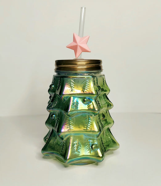 Xmas Tree Glass Mason Jar