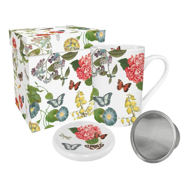 Victoria Garden- Tea Mug with Lid & Strainer