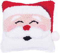 Happy Santa Hooked Pillow