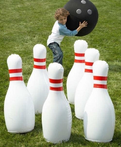 "Indoor/Outdoor Giant Inflatable Bowling Game 29""H Pins and 20"" diam. Ball"