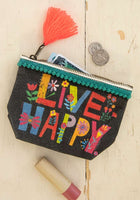 Mini Canvas Pouch Live Happy
