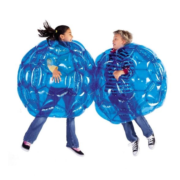 "HearthSong Blue BBOP Buddy Bumper Ball Inflatable Giant Wearable Body Bubble Active Kid Toy Outdoor Play 36"" Diam. Heavy Duty Viny"