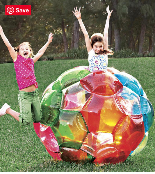 "65"" Rainbow Incred-a-Ball Inflatable Buddy Bumper Ball with Motion-Activated LED Lights and Colorful Foil Confetti - Multi"