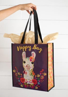 Extra Large Floral Llama Happy Bag