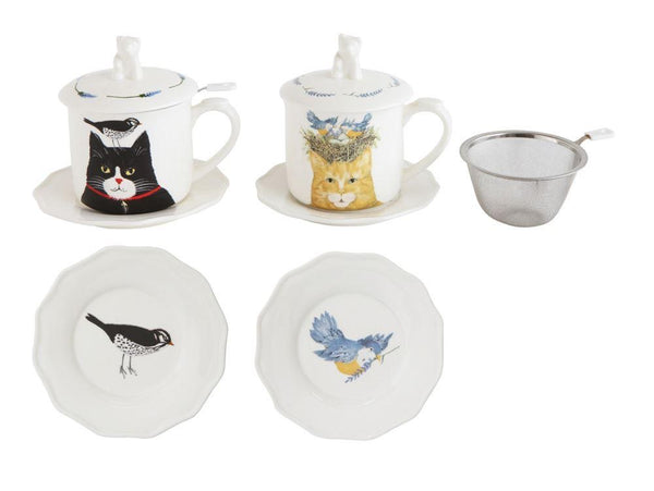 Black Cat Stoneware Cup Set