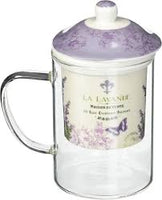 La Lavande Tea Glass with Porcelain Infuser and Lavender Design in a Gift Box