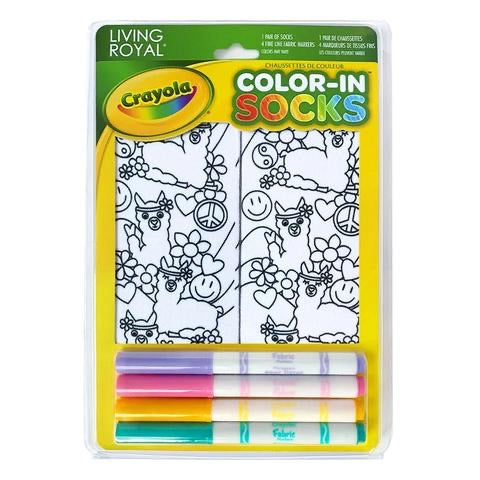 CRAYOLA COLOR-IN PEACE OUT LLAMA ANKLE SOCKS