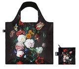 Still Life with Flowers in a Glass Vase Reusable Shopping Bag, Multicolored