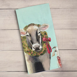 Festive Cow and Goat Tea Towel