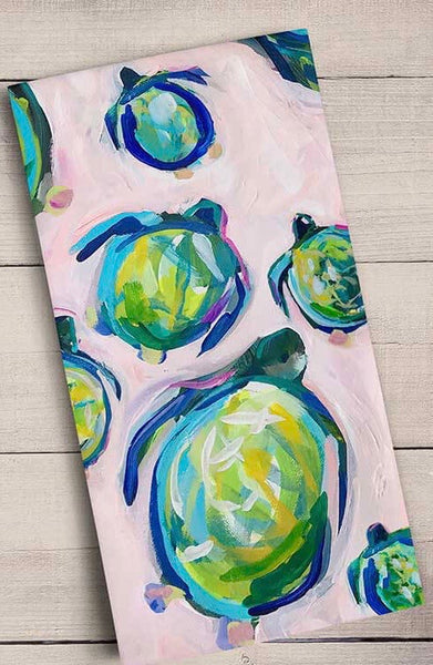 Sea Turtles On Pink Tea Towels