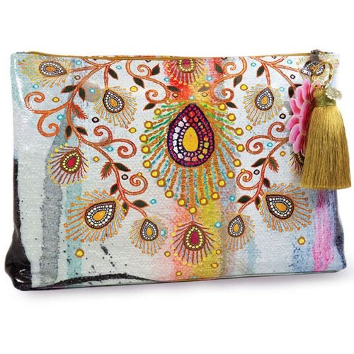 MOROCCAN PEACOCK LARGE ACCESSORY POUCH