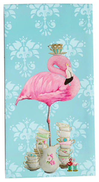 """Tea Time Flamingo"" Tea Towel"