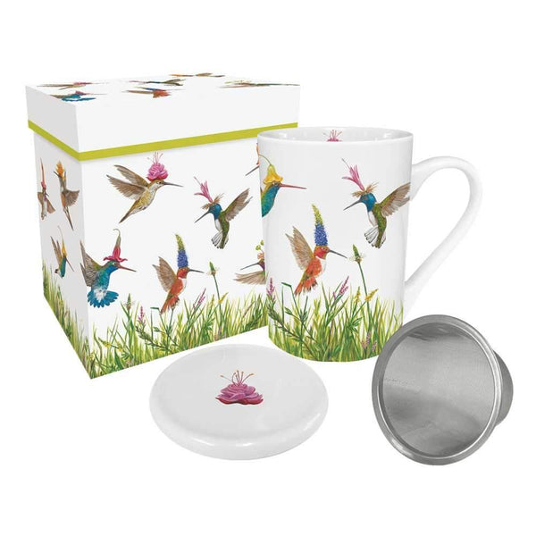 Meadow Buzz Gift-Boxed Tea Mug with Lid & Strainer