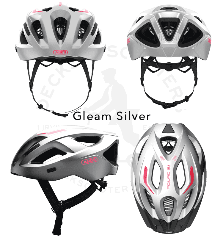 Abus Aduro 2.1 bicycle helmet 4 angles in gleam silver