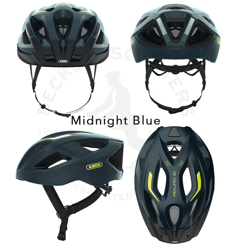Abus Aduro 2.1 bicycle helmet 4 angles in midnight blue