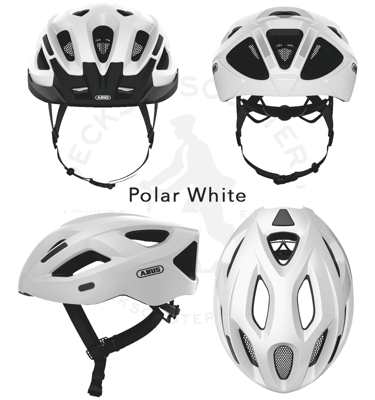 abus aduro 2.1 helmet from 4 angles, in polar white
