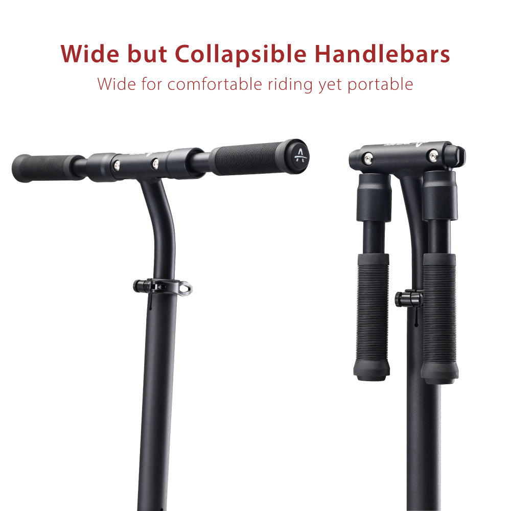 the aest a85 kick scooter has collapsible handlebars that are very sturdy and wide
