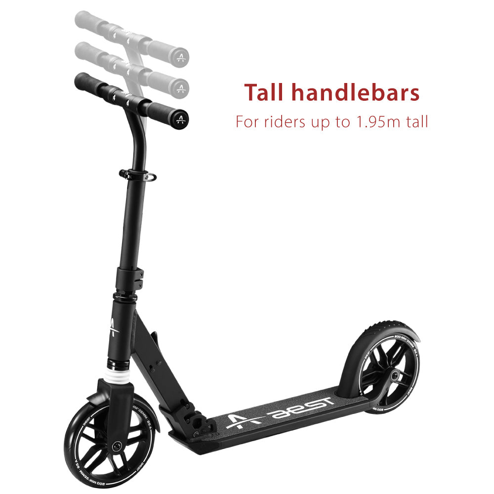 the aest a85 kick scooter has very tall handlebars