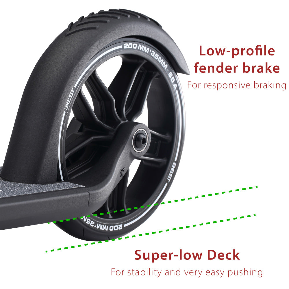 closeup of rear wheel of AEST A85 kick scooter showing brake fender