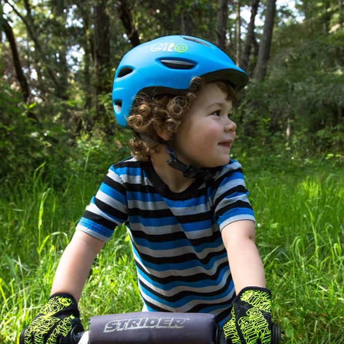 boy wearing giro scamp bicycle helmet for kid