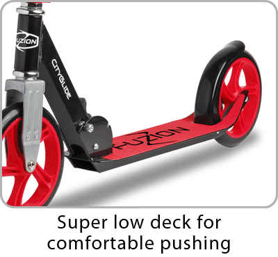 The Fuzion City-Glide kick scooter has very low deck