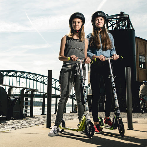 girls on kick scooters