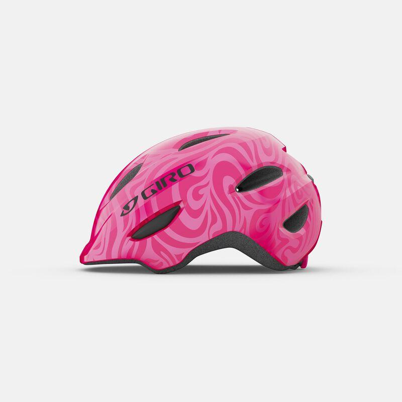 Giro Scamp bicycle helmet for kids, side view, Bright Pink Pearl
