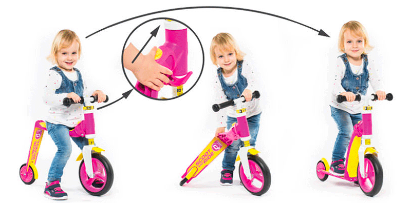convertible kick scooter to balance bike two mode