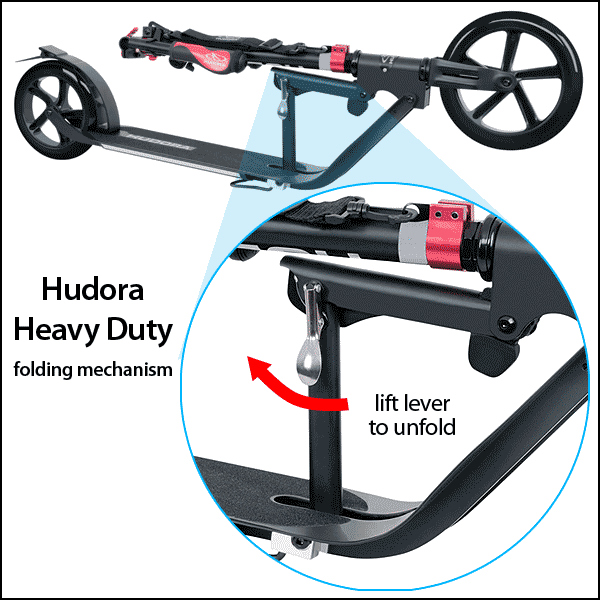Hudora Heavy Duty patented folding system for kick scooter