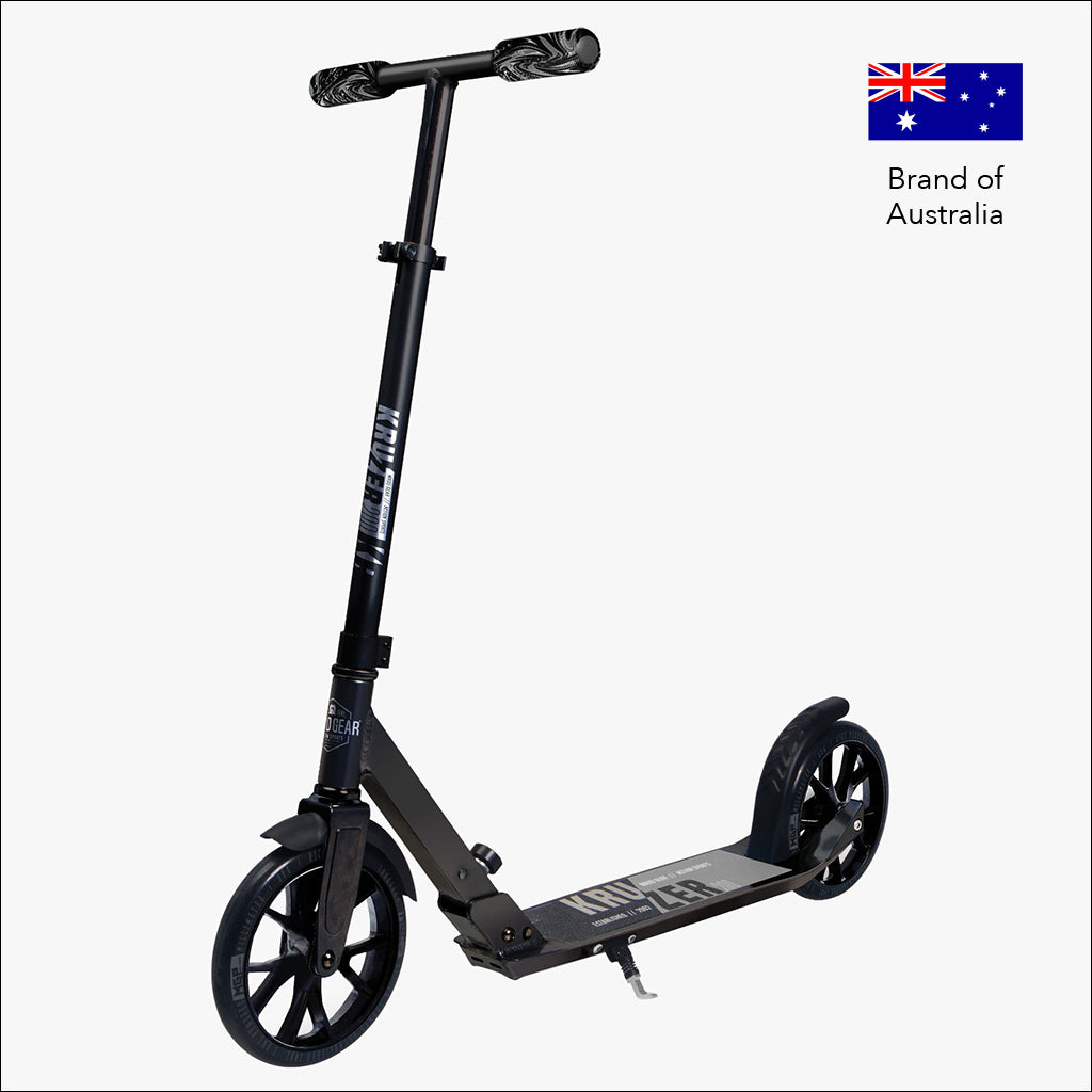 madd gear pro kruzer 200 foldable kick scooter in black