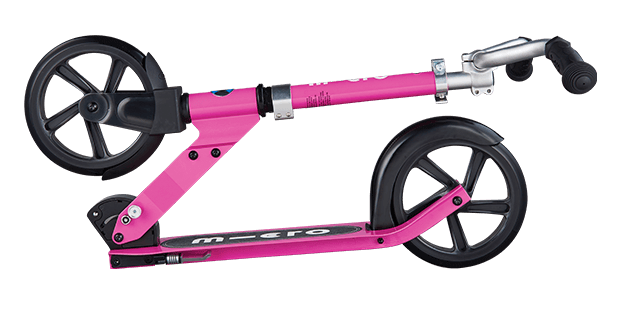 micro cruiser kick scooter for children in pink, folded