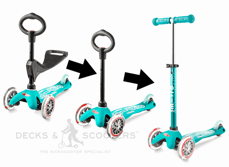 micro mini 3in1 kick scooter has 3 modes