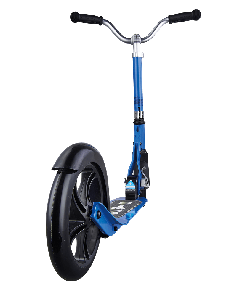 micro cruiser kick scooter for kids in blue, rear wheel closeup