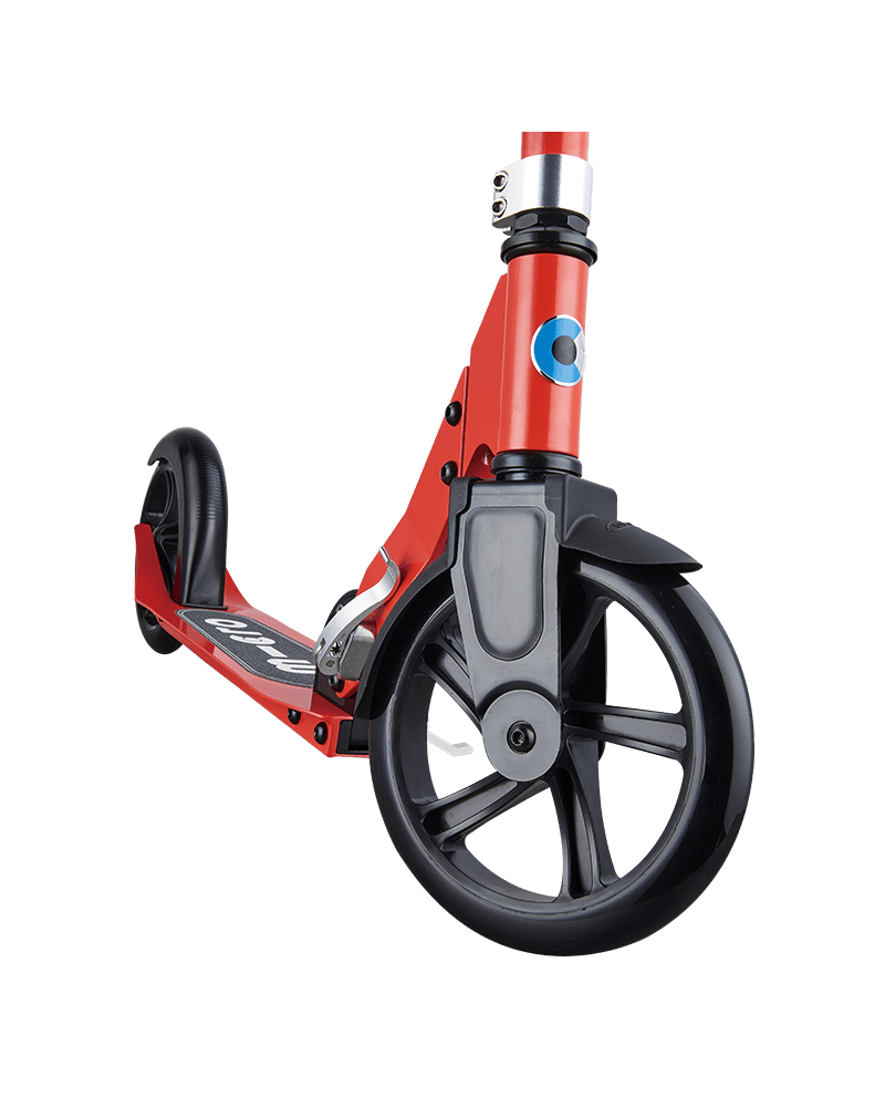 micro cruiser kick scooter for kids in red, front wheel closeup