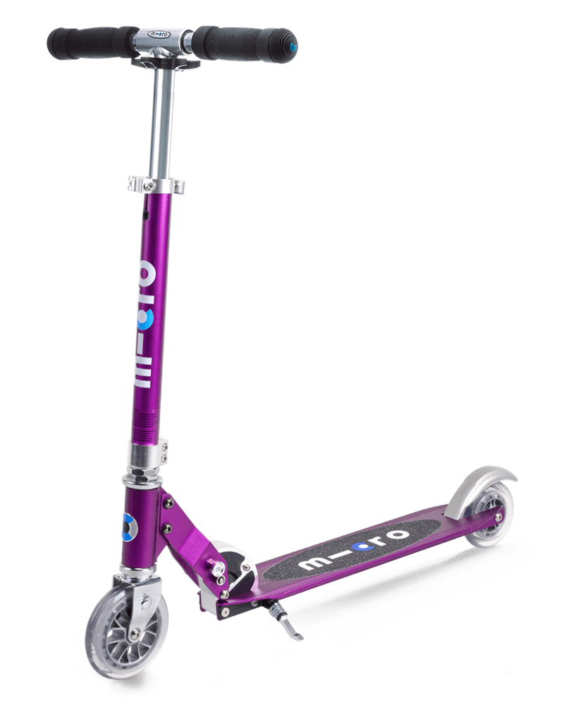 Micro Sprite Metallic Purple kick scooter with LED wheels