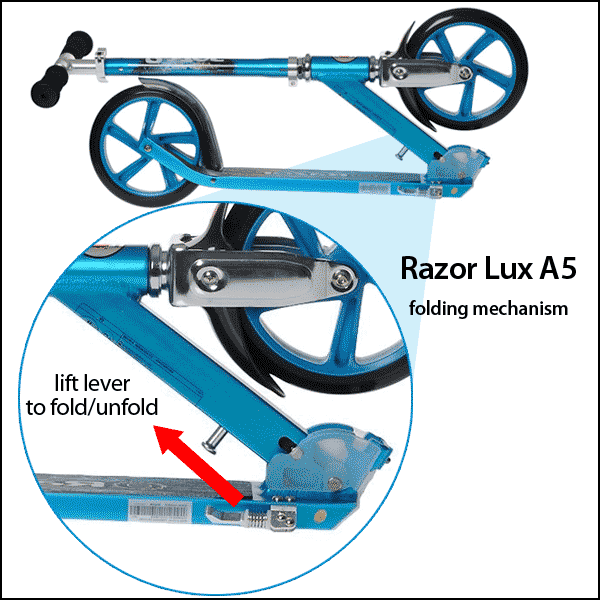 Raxor Lux A5 kick scooter folding system